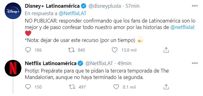 Disney+ y Netflix se envían mensajes en redes sociales. (Foto: Captura Twitter)