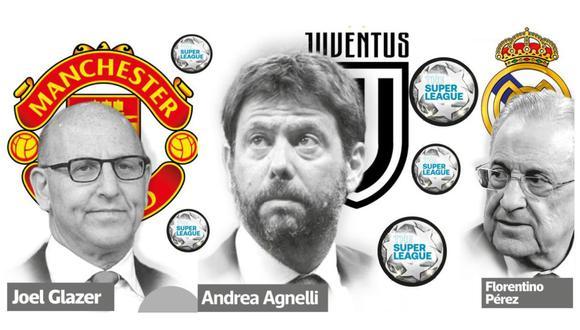 Los tres clubes que impulsaron la Superliga: United, Juventus y sobre todo, el Real Madrid. (Composición: El Comercio)