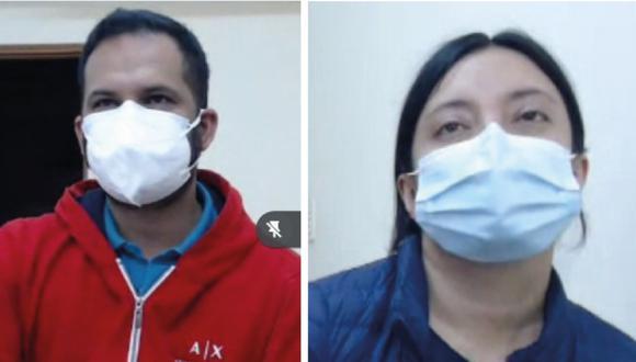 La pareja de extranjeros Alexander Garzón y Diana Pérez durante la audiencia de prisión preventiva realizada en el Corte Superior de Justicia del Callao. (Foto: Poder Judicial del Callao)