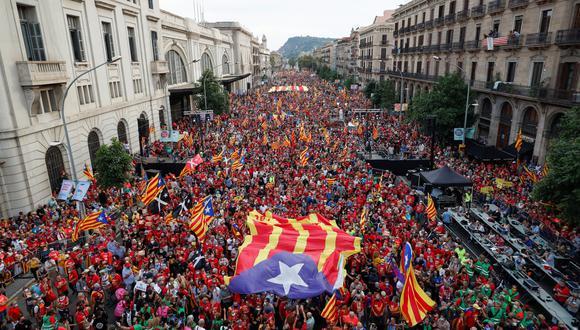 Así se vio hoy Barcelona, durante las celebraciones por el Día de Cataluña. REUTERS