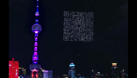 El impresionante show de drones finalizó con un código QR que se podía escanear con la cámara del smartphone. (Captura de pantalla)