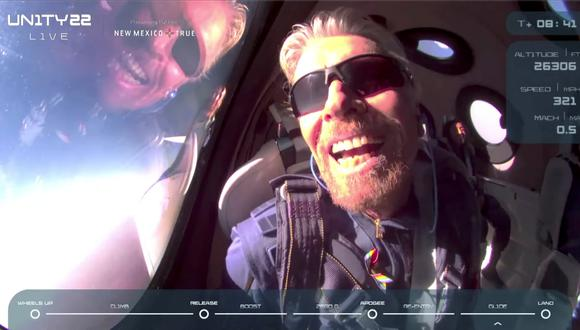 Billionaire Richard Branson reacts on board Virgin Galactic's passenger rocket plane VSS Unity after reaching the edge of space above Spaceport America near Truth or Consequences, New Mexico, U.S. July 11, 2021 in a still image from video.    Virgin Galactic/Handout via REUTERS.  NO RESALES. NO ARCHIVES. THIS IMAGE HAS BEEN SUPPLIED BY A THIRD PARTY.