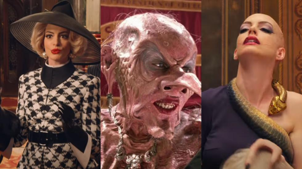 """""""The Witches"""". A los extremos, Anne Hathaway como la Gran Bruja de la cinta en la versión del 2020. al centro, Anjelica Huston en la cinta original de 1990. Foto: HBO Max."""