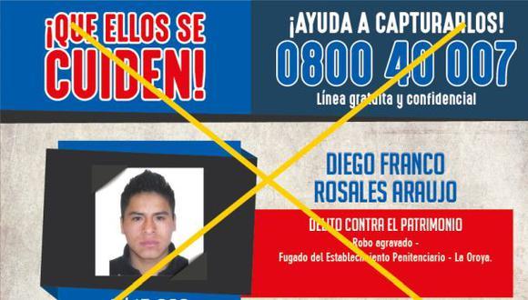 Programa de recompensas: Cayó reo que fugó de penal de La Oroya