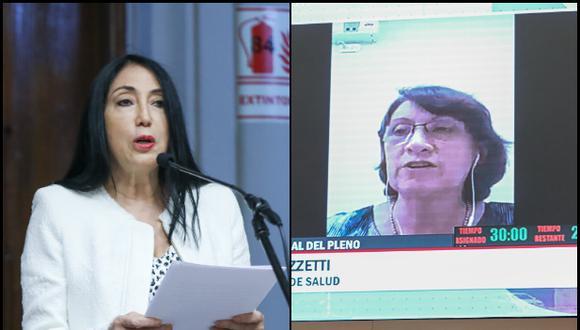 Elizabeth Astete y Pilar Mazzetti se defendieron ante el pleno del Congreso. (Fotos: Congreso de la República)