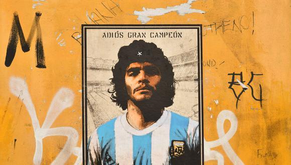 Un mural dedicado a Diego Armando Maradona por el artista callejero Harry Greb en Rome. Foro: Alberto Pizzoli para AFP.