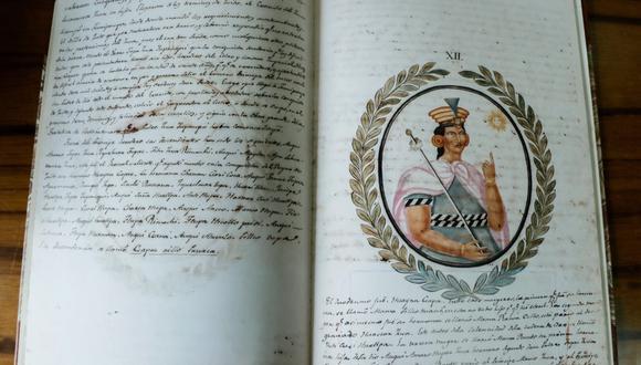 """""""Recuerdo de la Monarquía Peruana o bosquejo de la historia de los Incas"""", el manuscrito de Justo Apu Sahuaraura Inca. (Foto: BNP)"""