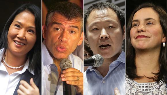 Keiko Fujimori, Julio Guzmán, Kenji Fujimori y Verónika Mendoza lideran la intención de voto en la reciente encuesta de El Comercio-Ipsos. (Foto: El Comercio)