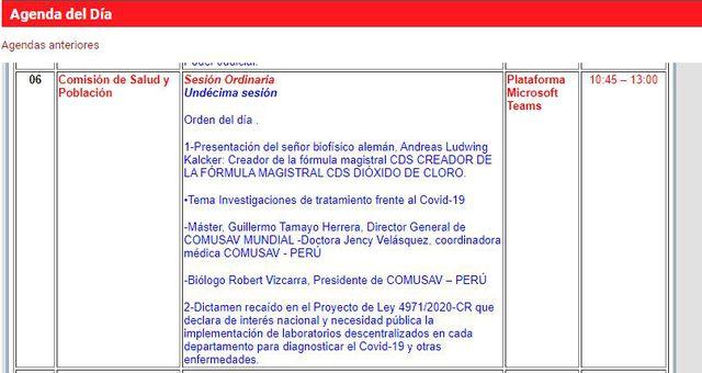 Agenda de la Comisión de Salud y Población.