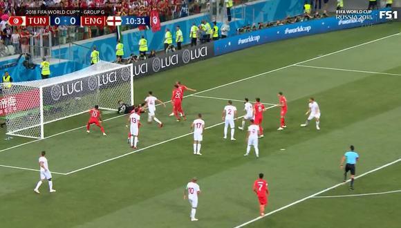 Inglaterra vs. Túnez: Harry Kane se estrenó con gol en el Mundial Rusia 2018. (Foto: Captura de video)