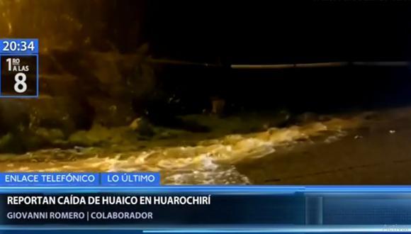 El huaico que cayó en el norte de Huarochirí causó que algunos transportistas opten por regresar y no avanzar en la Carretera Central | Captura: Canal N