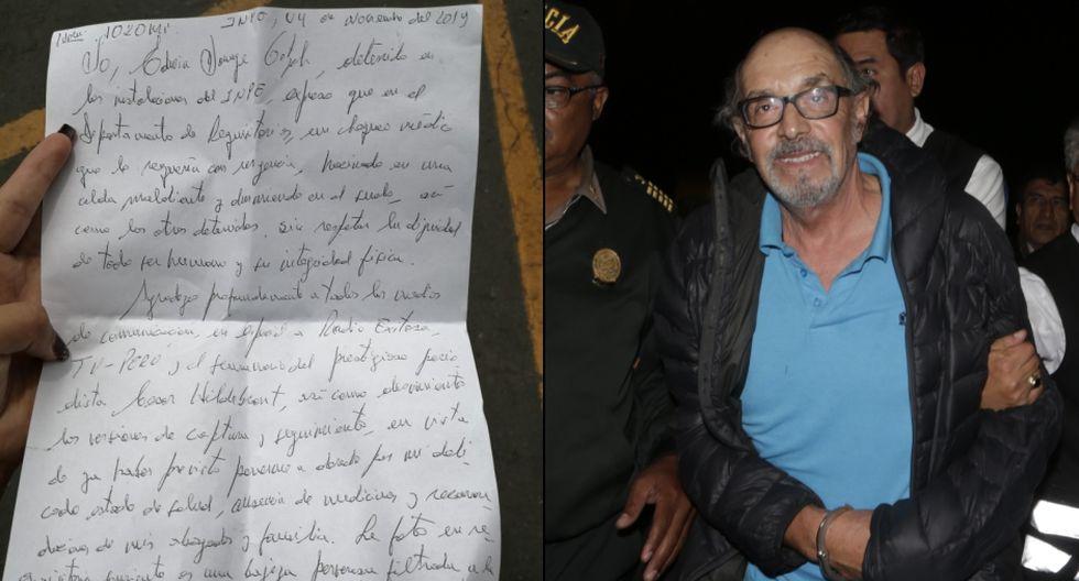 Excongresista compartió una carta en la que denuncia presunto maltrato en la instalación de la Policía Nacional. (Foto: @Brianmatico / GEC)