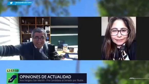 El periodista José Luis Lagos de la radio El Sembrador entrevistó a Ana Vergara San Martín el 7 de agosto. (Fuente: You Tube)