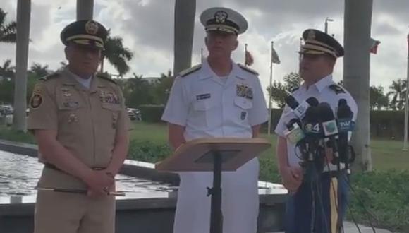 Pronunciamiento del almirante Craig Faller, jefe del Comando Sur, el comando militar estadounidense que atiende asuntos del Caribe y de Centro y Sur América. (Foto: Captura)