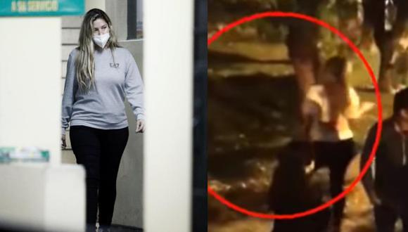 A la izquierda, Sofía Franco en la comisaría de Santa Felicia. A la derecha, un video de ATV Noticias muestra a quien sería la expresentadora de TV momentos después del accidente. (Fotos: Joel Alonzo para el Grupo El Comercio/ ATV)