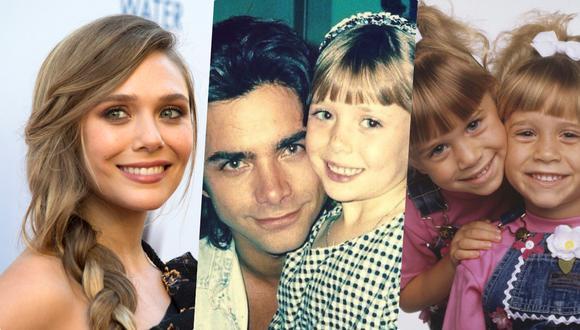 """Elizabeth Olsen es hermana de las gemelas Ashley y Mary Kate. En la imagen del medio la vemos junto a John Stamos, de niña, en el set de """"Full House""""."""