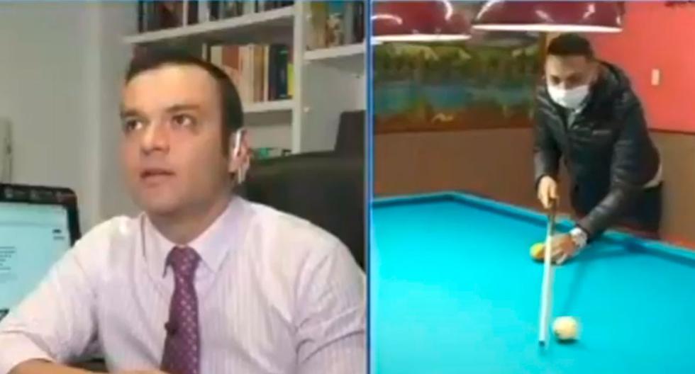 """El rostro del periodista Juan Diego Alvira al ver cómo el """"campeón de billar"""" no pudo realizar una carambola de 3 bandas en vivo. (Foto:  Captura  de Youtube/SANGREAZUL)"""