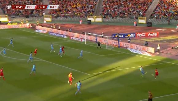 La asistencia de Eden Hazard ante Kazajistán. (Foto: captura de video)