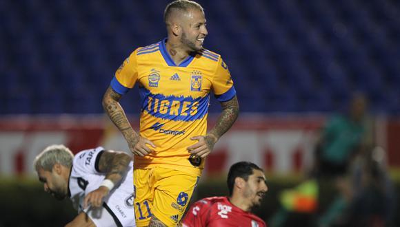 Nicolás López marcó doblete en la victoria 3-0 de Tigres sobre Querétaro   Foto: @golesycifras