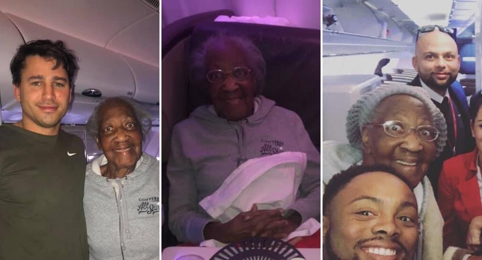 La mujer de 88 años no podía creer que su sueño de volar en primer clase se había hecho realidad gracias a un buen samaritano que tuvo la amabilidad de intercambiar su asiento con el de ella. (Foto: Leah Amy en Facebook)