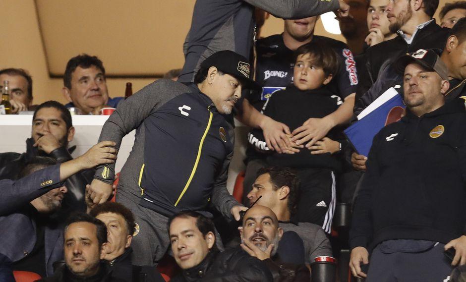 Atlético San Luis venció 4-2 a Dorados y frustró el ascenso a la Liga MX del equipo de Diego Maradona.   Foto: AP