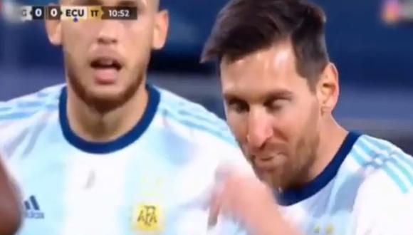 Lionel Messi y el peculiar diálogo con Lucas Ocampos. (Captura: TyC Sports)