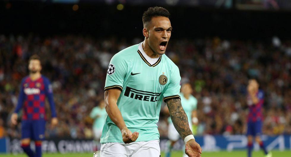 Lautaro Martinez marcó el 1-0 en el Barcelona vs. Inter de Milán en el inicio del duelo de Champions League. (Foto: REUTERS/Sergio Pérez)