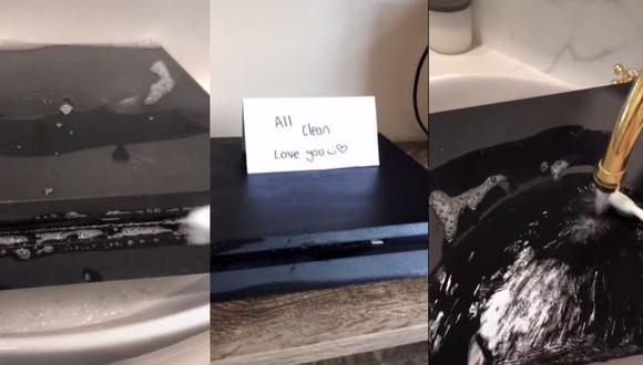 Mujer estropeó PlayStation 4 tras lavarla con agua, jabón y cepillo de dientes. (Foto: Composición)