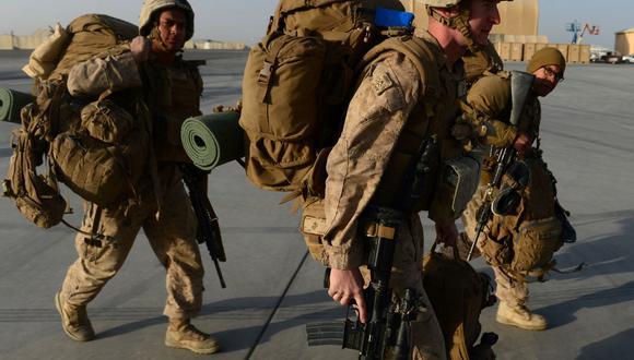 Los marines de Estados Unidos llegan a Kandahar, Afganistán, el 27 de octubre de 2014. (FOTO AFP / WAKIL KOHSAR).