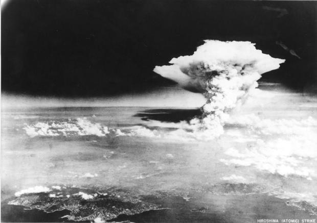 This file photograph taken on August 6, 1945 by the US Army shows a mushroom cloud from the first atomic bomb dropped by the B-29 Enola Gay bomber over the city of Hiroshima.
