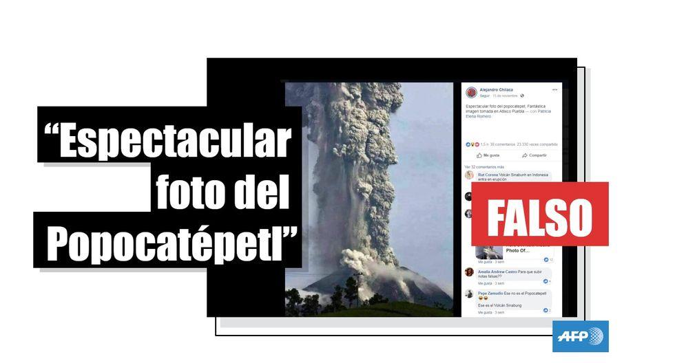 """¿Esta es una """"espectacular foto"""" del volcán Popocatépetl en México? Falso. (AFP)."""