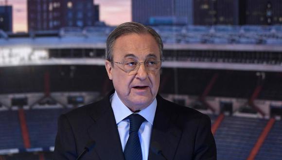 """Florentino Pérez sobre la Superliga: """"Lo que hacemos es para salvar al fútbol que está en estado crítico"""". (Foto: AFP)"""