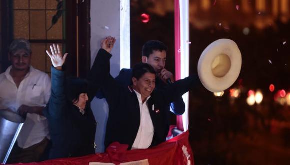 Pedro Castillo dio su primer mensaje tras la proclamación de resultados del JNE (Foto: Giancarlo Ávila / @photo.gec)