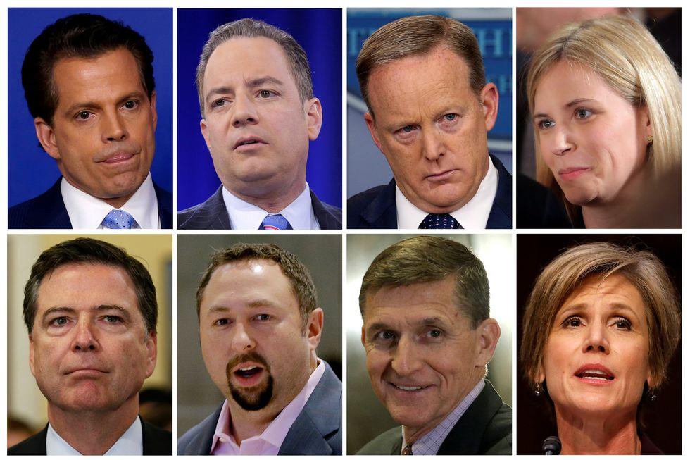 Algunos de los funcionarios que fueron despedidos o renunciaron a la Administración Trump: Anthony Scaramucci, Reince Priebus, Sean Spicer, Katie Walsh, James B. Comey Jr., Jason Miller, Michael Flynn y Sally Yates. (Reuters)