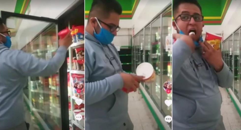 En una tienda de Aurrerá, un hombre con mascarilla, sin pudor alguno, decidió tomar un helado de los refrigeradores, meter el dedo al bote, sacar una porción del producto, probarlo y al final regresar el envase a la nevera. (Foto: Captura Tik Tok)
