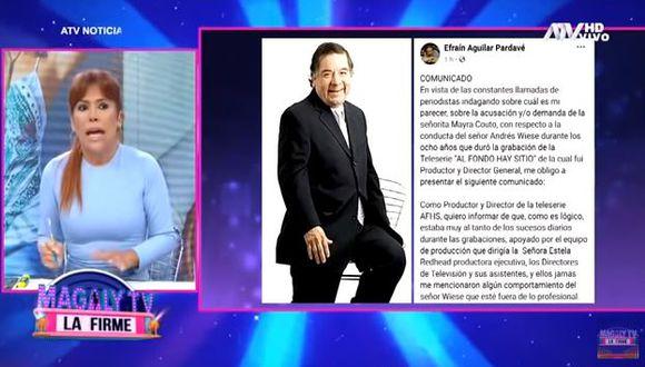 Magaly Medina criticó a Efraín Aguilar y señaló que todo se sabe dentro de una producción.  (Foto: captura)