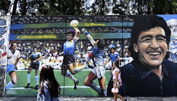 Mural en Argentina de La Mano de Dios. (Foto: AFP)