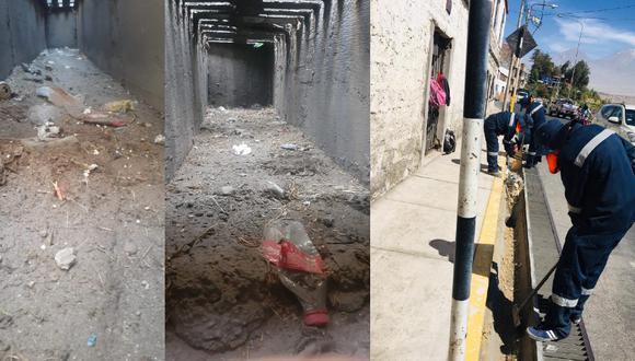 Realizan nuevamente limpieza de drenajes que vecinos ensuciaron con latas y botellas. (Foto: Municipalidad Distrital de Cayma)