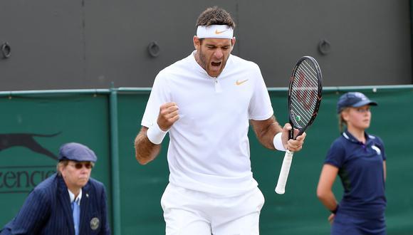Juan Martín del Potro ganó a Gilles Simon y avanzó a cuartos de final de Wimbledon. (Foto: AFP)