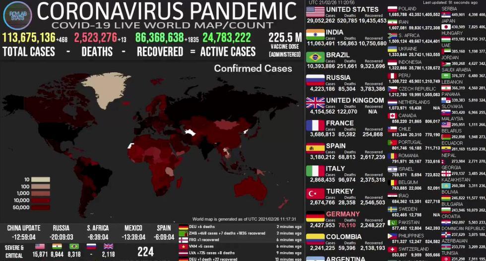 Mapa del coronavirus COVID-19 EN VIVO hoy, sábado 27 de febrero del 2021. (Universidad Johns Hopkins).