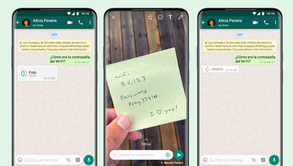 Ahora los usuarios de WhatsApp pueden enviar imágenes y vídeos efímeros que desaparecen del chat después de ser vistos por el destinatario. (WhatsApp /Europa Press)