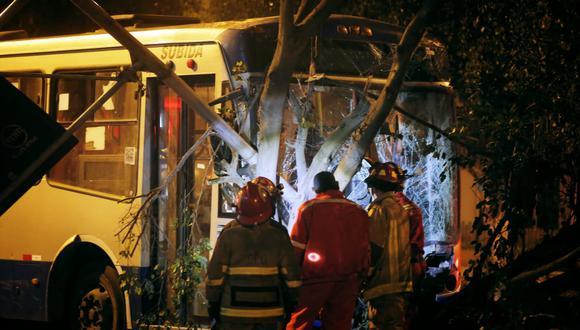 Los Bomberos talaron parte del árbol que quedó incrustado dentro del bus. (Foto: César Grados)