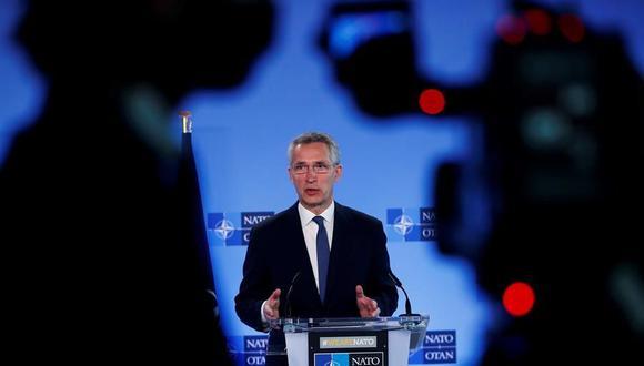 El secretario general de la OTAN, Jens Stoltenberg, habla durante una conferencia en Bruselas, Bélgica, el 13 de abril de 2021. (EFE / EPA / Francisco Seco).