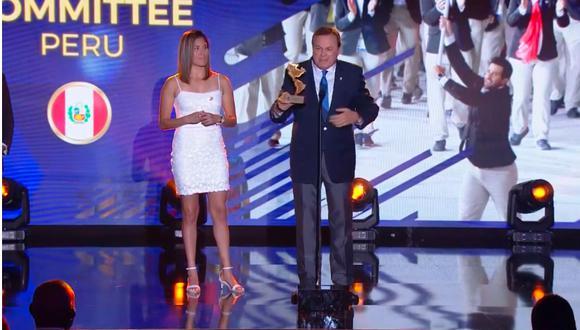En la ceremonia celebrada en Florida, el Comité Olímpico Peruano (COP) recibió el premio al país con mayor crecimiento deportivo por parte de los Panam Sports. (Captura Diario Récord Perú)