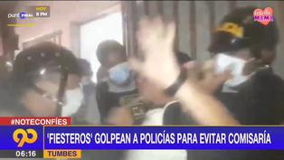 Tumbes: fiesteros golpean a policías para evitar ser intervenidos
