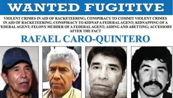 El FBI ofrece US$20 millones por la captura de Caro Quintero. (Foto: FBI, via BBC Mundo)