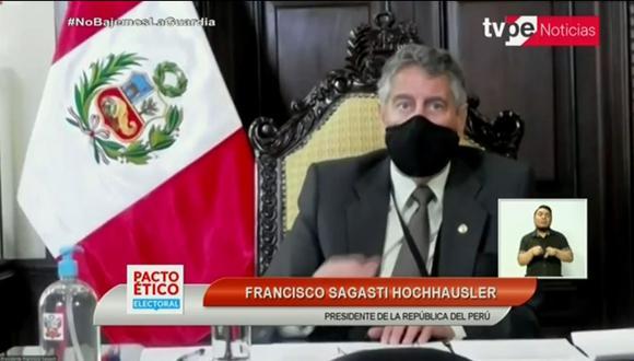 Francisco Sagasti dijo que la PNP y FF.AA. velarán por el respeto de las medidas contra el coronavirus. (Presidencia)