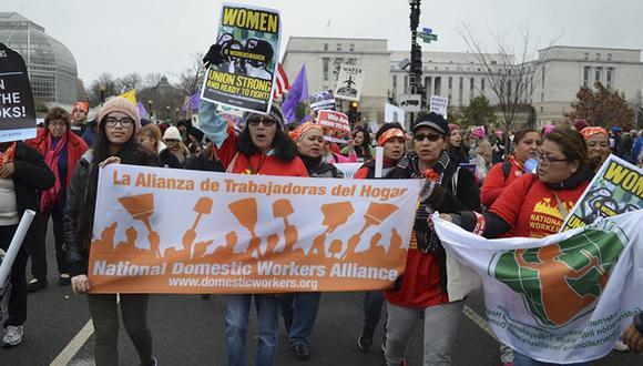 Las trabajadoras domésticas en el Capitolio de EE.UU. (@AlianzaNTH | Facebook)
