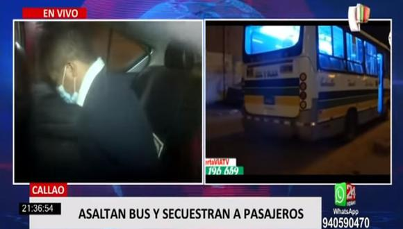 Cuatro hampones se hicieron pasar como pasajeros y subieron al bus de la empresa Sol y Mar, sin embargo, los policías de un patrullero fueron alertados e intervinieron, logrando la captura de Christian Joel Aponte Núñez (37). (Foto: captura de video)