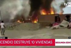 Huacho: fuerte incendio consume viviendas de asentamiento humano